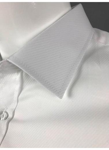 Abbate Klasık Yaka Klasık Armürlü Regularfıt Gömlek Beyaz
